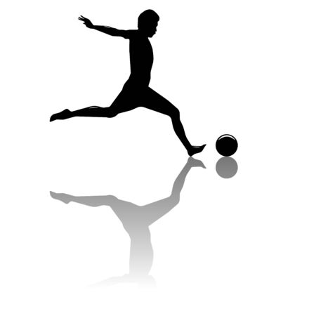vector illustration black silhouette of a half-naked black football player with horizontal reflection on a white background, who is preparing to kick the ball.