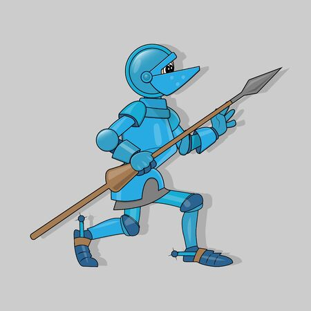 vector illustration of a crouching cartoon knight in blue armor with a brown spear in his hand and protruding eyes from a visor on a gray background with shadow. 向量圖像
