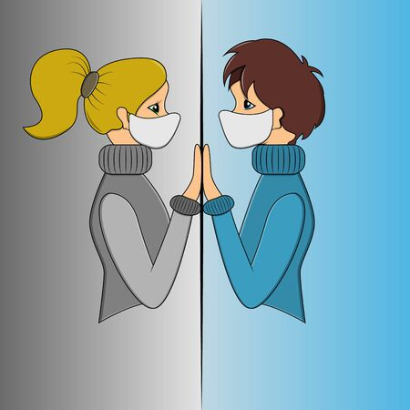 vector illustration of a guy and a girl sick with coronavirus infection in medical masks facing each other separated by glass on a gradient background.