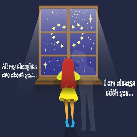 vector illustration on the theme of love and relationships, a girl in a gloomy room by the window with starlight stands with her back to the viewer leaning on the windowsill, and the image of her lover hugs her.