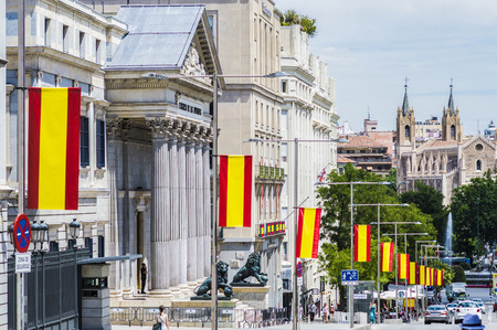 vi: Madrid, Spain - June, 22, 2014  Spanish Parliament  The street is adorned by the proclamation of King Philip VI Editorial