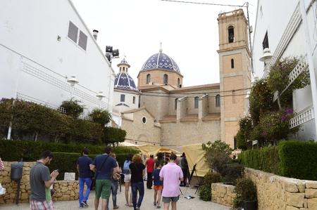 altea: Altea, Alicante, Espa�a - April, 19, 2014 Tourists visiting the old town of Altea in Spain
