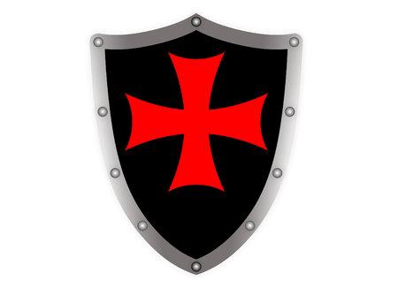 templar: Black templar medieval shield on white background
