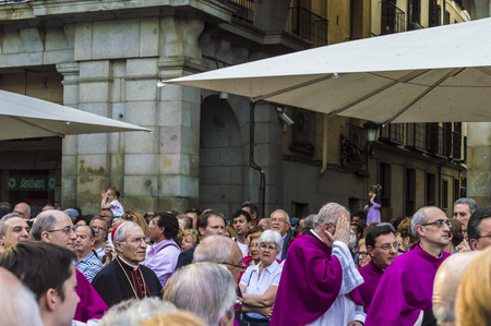 isidro: Madrid, Spain - May, 13, 2014: The Archbishop of Madrid, he attended the procession in honor of Sant Isidro accompanied by other religious figures