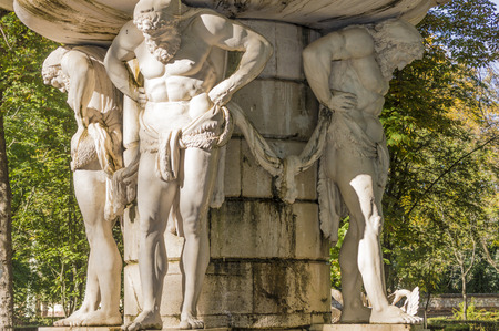 Source of Narcissus in the gardens of Aranjuez in Spain. Detail of sculpture.