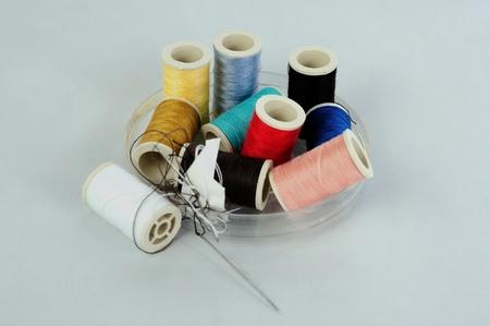 listless: Sewing yarn box Stock Photo