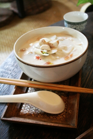 sour grass: tom kha kai,Thai Food, soup made from coconut milk and add chicken