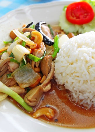 Thai food chicken with vegetables and rice  photo
