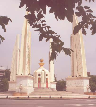 democracy Monument: Democracy monument in soft tone retro filter effect at Bangkok, Thailand