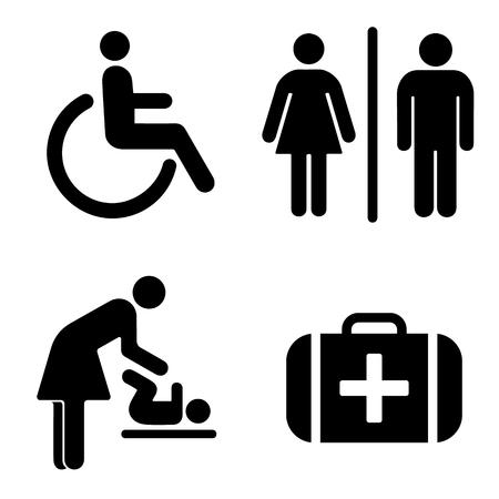 車椅子、トイレ、ベビールーム、応急処置キット用アイコンセット  イラスト・ベクター素材