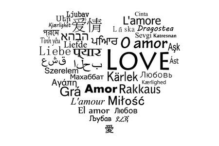 세계에서 가장 인기있는 언어에 대한 사랑 일러스트