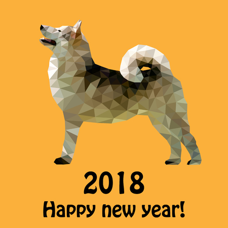 Vector illustration for the new two thousand and eighteenth year of the yellow dog on the Chinese calendar, in the style of a polygon from triangles.