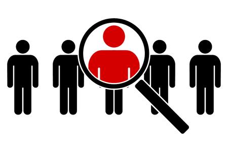 Het zoekpictogram. Pictogrammen van mensen onder een vergrootglas. Vector illustratie Stockfoto - 92183218