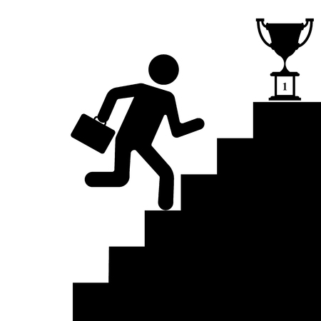 The human figure climbing the stairs to success