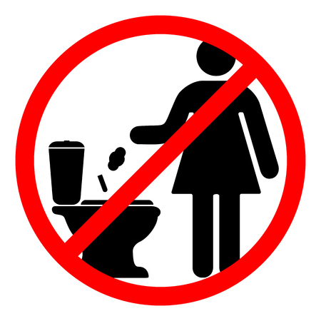 Sign that prohibits throwing trash in the toilet vector illustration