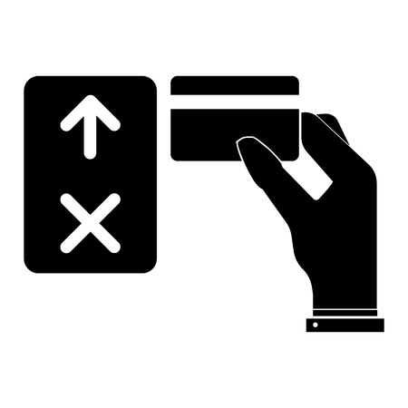 Opening the electronic lock using the card key. Original vector icon, sign.