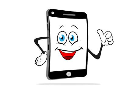 Cartoon smartphone lacht en toont graag. Leuke vectorillustratie. Vector Illustratie