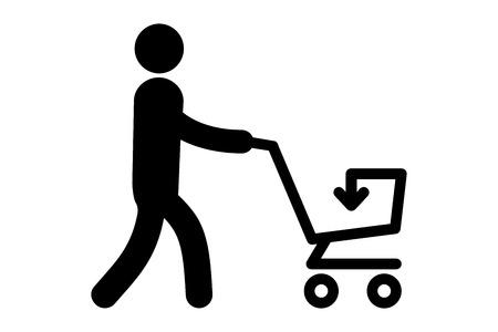Eine einfache Ikone eines Mannes mit einem Einkaufswagen. Vektor-Illustration.