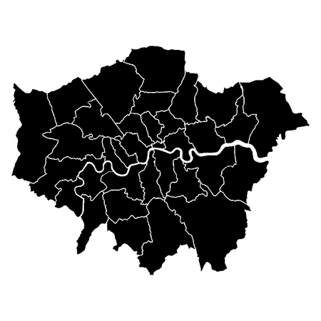 Detailed accurate map of London in high resolution. Vector illustration. Ilustrace