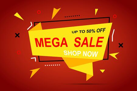 Mega sale discount colorful banner for your business. Vector graphics for your offer. 일러스트