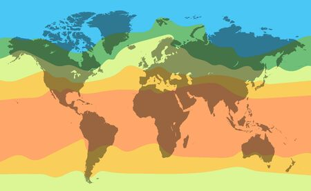 World climate temperature map. Detailed vector illustration Ilustracja