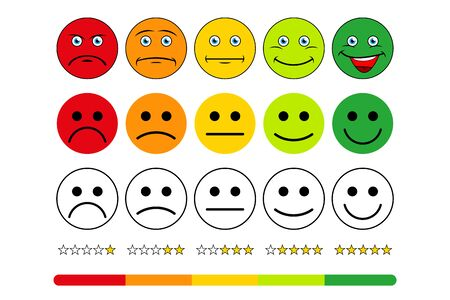 Rating scale of customer satisfaction. The scale of emotions with smiles