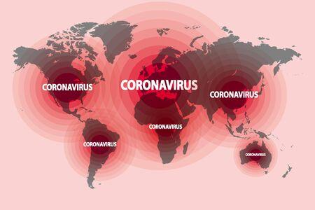 Illustration of the spread of a new coronavirus from China around the world Stock Illustratie