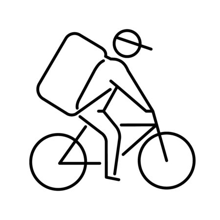 Icon of a Bicycle courier delivering goods or food to a customer Illusztráció