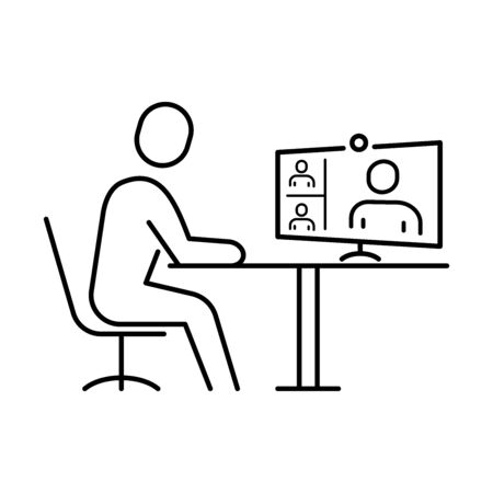 Icon for video communication for online work or remote training 免版税图像 - 149460469