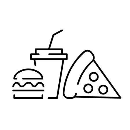A simple fast food icon with a glass of pizza and a hamburger. 免版税图像 - 148739570