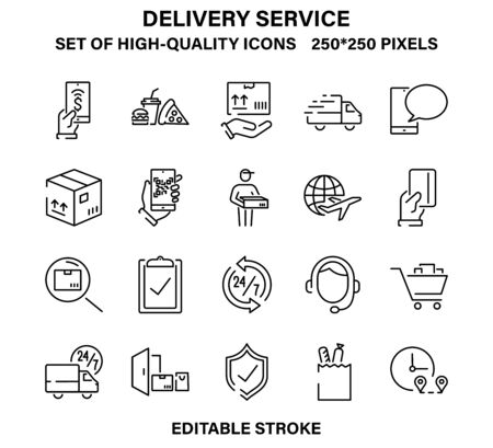 A set of simple but high-quality icons for the delivery service or courier service.