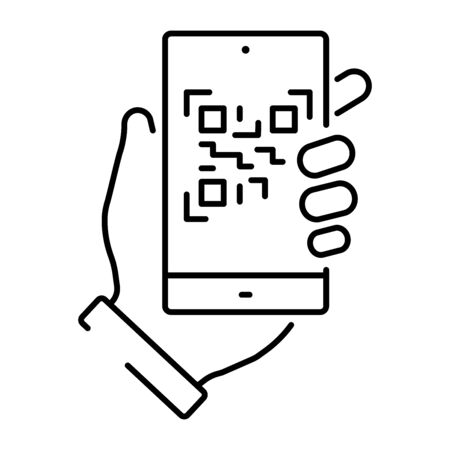 A simple icon of a smartphone scanning a qr code