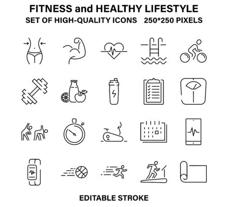 A set of simple but high-quality icons about fitness and a healthy lifestyle