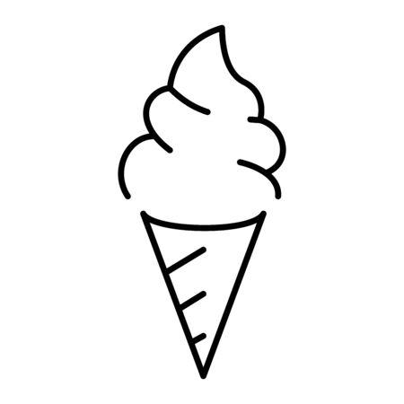 Simple ice cream icon in a cone Illustration