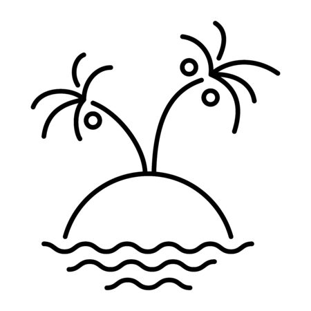 Simple icon of a tropical island with palm trees.