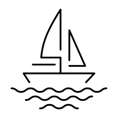 A simple icon of a yacht or boat on the waves.
