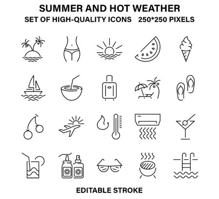 A set of simple but high-quality icons about summer and hot weather
