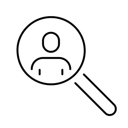A simple icon of a person under a magnifying glass.