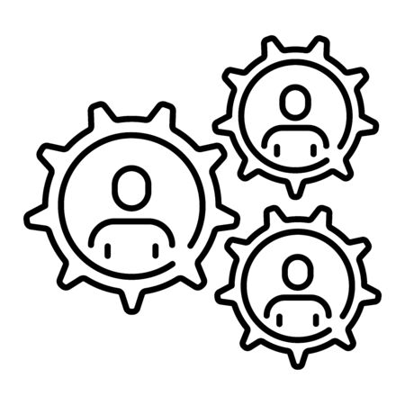 A simple linear icon of teamwork in the form of a well-established mechanism.