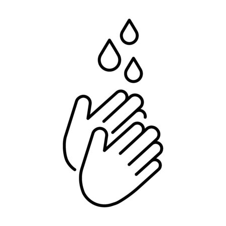 A simple icon for washing hands with water to prevent diseases of bacteria viruses and coronaviruses