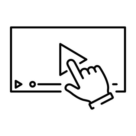 A simple icon with a hand clicking on the play to display the video.