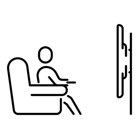 A simple linear icon with a person watching smart TV sitting at home on the couch.