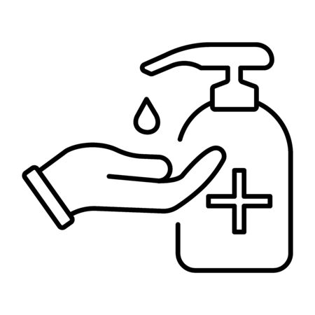 A simple linear icon for protecting your hands with an antiseptic or sanitizer.