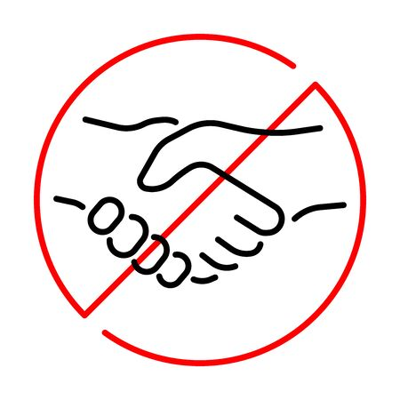 Simple linear icon of a ban on handshake