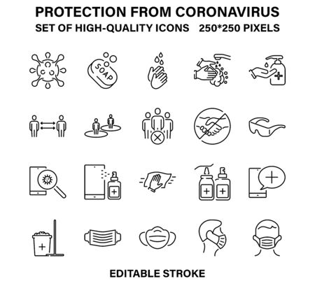 A set of simple linear icons for protection and prevention from coronavirus Illusztráció