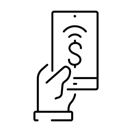 Simple linear icon for contactless payment with a smartphone.