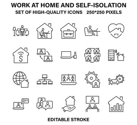 A set of simple but high-quality linear icons for working from home and self-isolation.