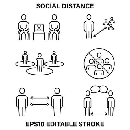 A set of simple linear icons for maintaining social distance in public places.