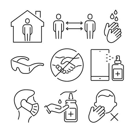 A set of simple icons for the prevention of coronavirus. Illusztráció