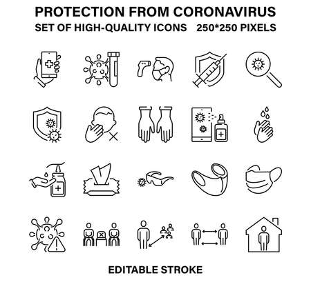 A set of simple but high-quality icons for the prevention of coronavirus and other infections. Vector illustration with editable stroke.